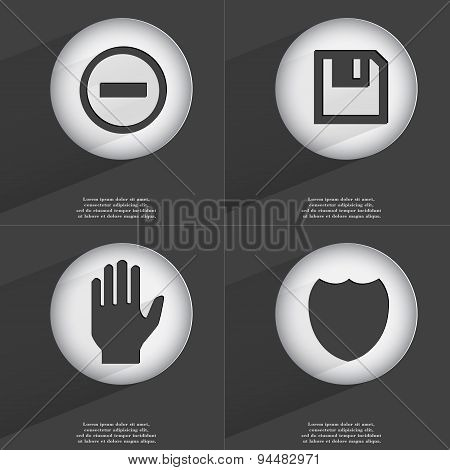 Minus, Floppy Disk, Hand, Badge Icon Sign. Set Of Buttons With A Flat Design. Vector