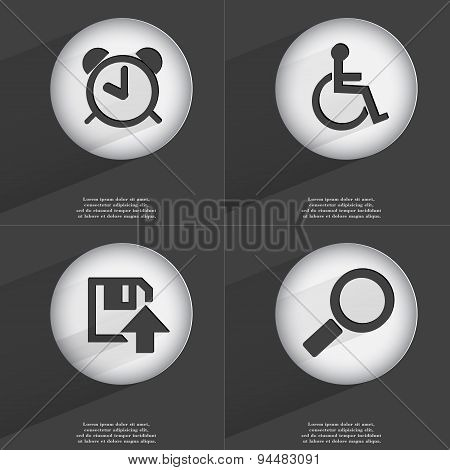 Alarm Clock, Disabled Person, Floppy Disk Upload, Magnifying Glass Icon Sign. Set Of Buttons With A