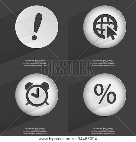 Exclamation Mark, Web With Cursor, Alarm Clock, Percent Icon Sign. Set Of Buttons With A Flat Design
