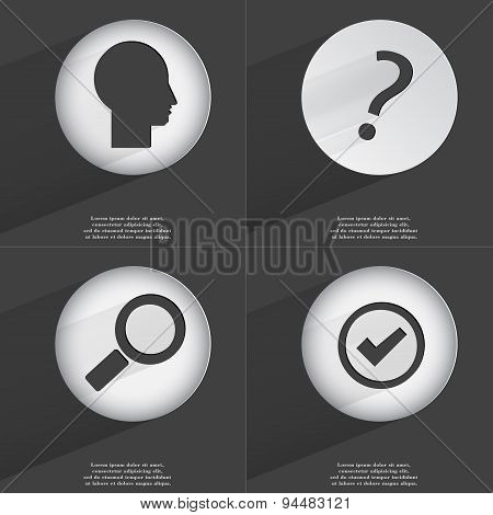 Silhouette, Question Mark, Magnifying Glass, Tick Icon Sign. Set Of Buttons With A Flat Design. Vect