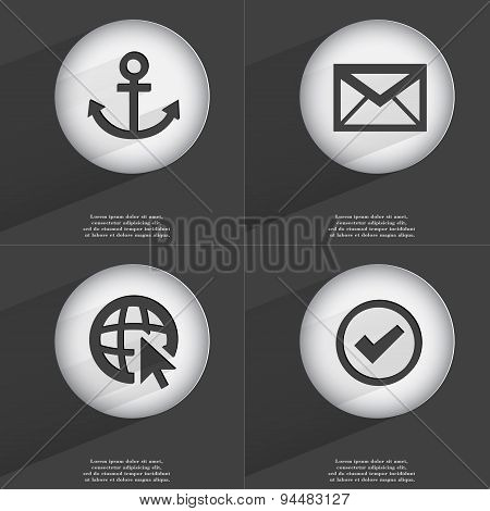 Anchor, Message, Web With Cursor, Tick Icon Sign. Set Of Buttons With A Flat Design. Vector