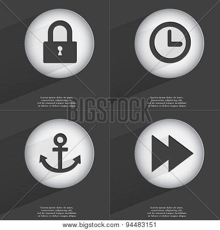 Lock, Clock, Anchor, Rewind Icon Sign. Set Of Buttons With A Flat Design. Vector