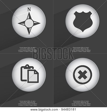 Compass, Police Badge, Tasklist, Stop Icon Sign. Set Of Buttons With A Flat Design. Vector