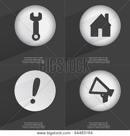 Wrench, House, Exclamation Mark, Megaphone Icon Sign. Set Of Buttons With A Flat Design. Vector