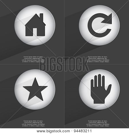 House, Reload, Star, Hand Icon Sign. Set Of Buttons With A Flat Design. Vector