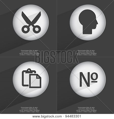 Scissors, Silhouette, Tasklist, Number Icon Sign. Set Of Buttons With A Flat Design. Vector