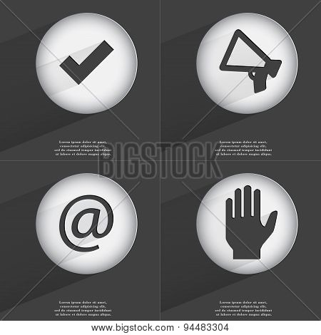 Tick, Megaphone, Mail, Hand Icon Sign. Set Of Buttons With A Flat Design. Vector