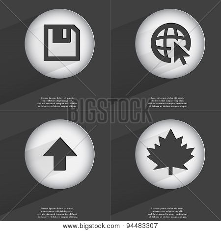 Floppy Disk, Web With Cursor, Arrow Directed Upwards, Maple Leaf Icon Sign. Set Of Buttons With A Fl