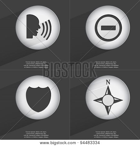 Talk, Minus, Badge, Compass Icon Sign. Set Of Buttons With A Flat Design. Vector