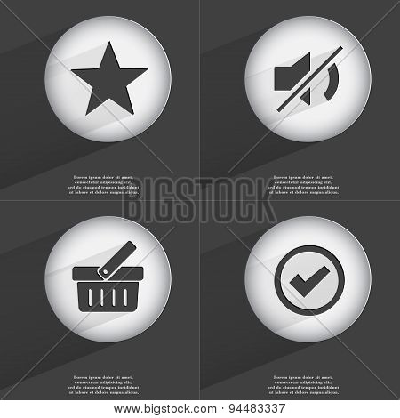 Star, Mute, Basket, Tick Icon Sign. Set Of Buttons With A Flat Design. Vector