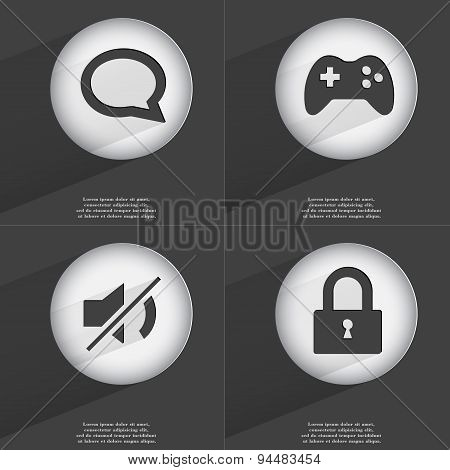 Chat Bubble, Gamepad, Mute, Lock Icon Sign. Set Of Buttons With A Flat Design. Vector