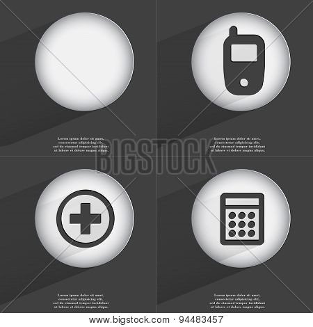 Mobile Phone, Plus, Calculator Icon Sign. Set Of Buttons With A Flat Design. Vector