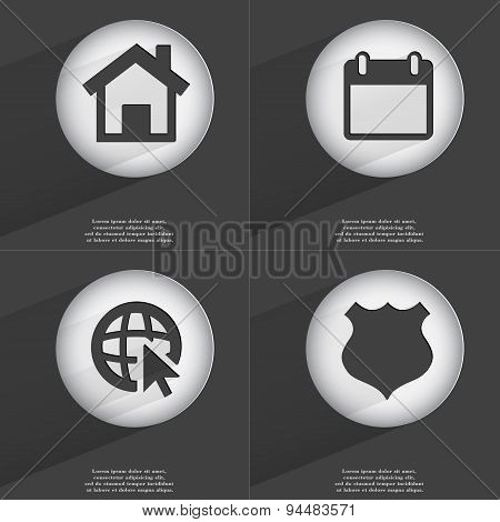 House, Calendar, Web With Cursor, Police Badge Icon Sign. Set Of Buttons With A Flat Design. Vector