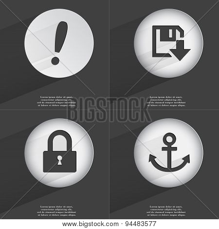 Exclamation Mark, Floppy Disk Download, Lock, Anchor Icon Sign. Set Of Buttons With A Flat Design. V