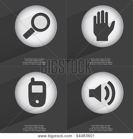 Magnifying Glass, Hand, Mobile Phone, Sound Icon Sign. Set Of Buttons With A Flat Design. Vector