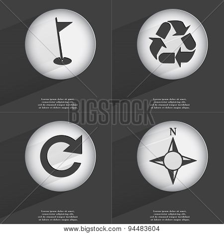 Golf Hole, Recycling, Reload, Compass Icon Sign. Set Of Buttons With A Flat Design. Vector