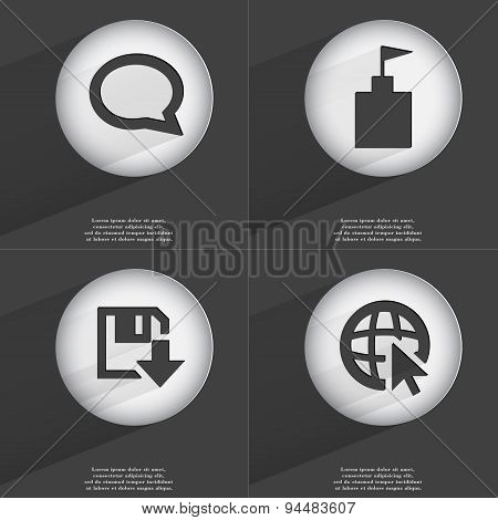 Chat Bubble, Flag Tower, Floppy Disk Download, Web With Cursor Icon Sign. Set Of Buttons With A Flat