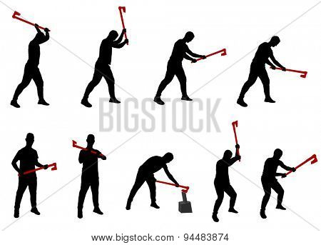 young man chopping woods silhouettes