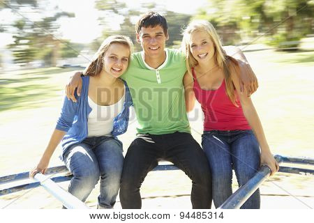 Group Of Teenagers Sitting On Playground Roundabout