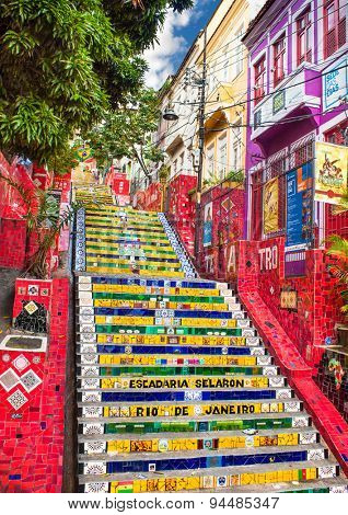 RIO DE JANEIRO, BRAZIL - APRIL 23, 2015: Escadaria Selaron famous public steps in Rio de Janeiro on April 23, 2015. The landmark  steps was created by Chilean born artist Jorge Selaron in 1990-2013.