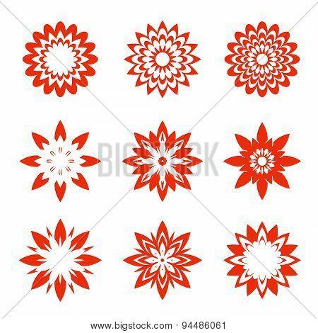 Set Of Red Geometric Flowers