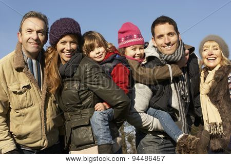 3 Generation family outdoors in winter