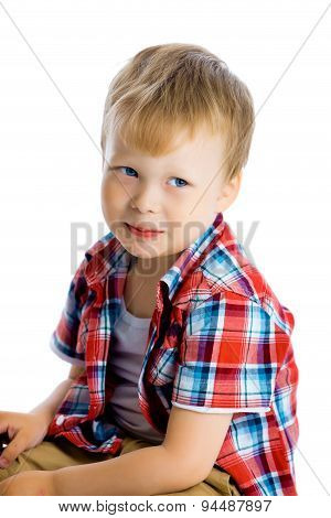 Funny Blue-eyed Three-year Boy On A White Background