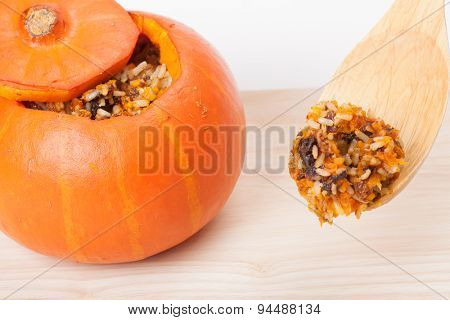 orange stuffed pumpkin, food photo
