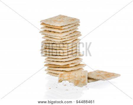 Soda Crackers Single Stack Half eaten Isolated On White Background