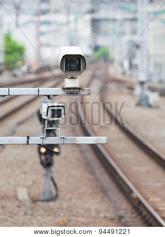 Video camera security system at train station