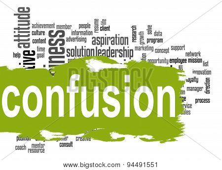 Confusion Word Cloud With Green Banner