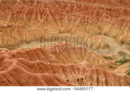 Closeup Of Red Sand Formation Of Tatacoa Desert In Colombia