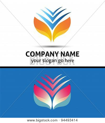 Vector letter v logo graphic golden and black wings element