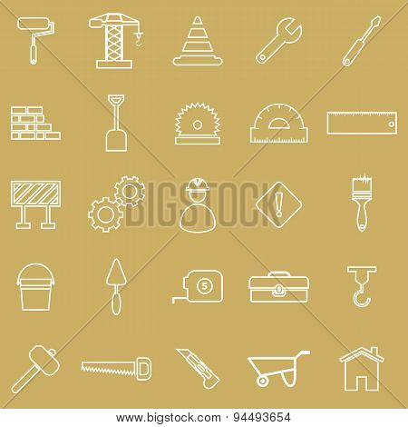 Construction Line Icons On Brown Background