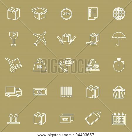 Shipping Line Icons On Brown Background