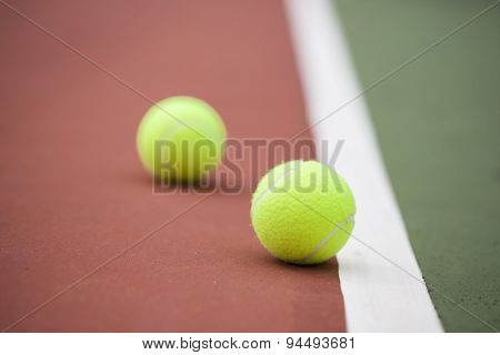 Tennis Court With Tennis Balls