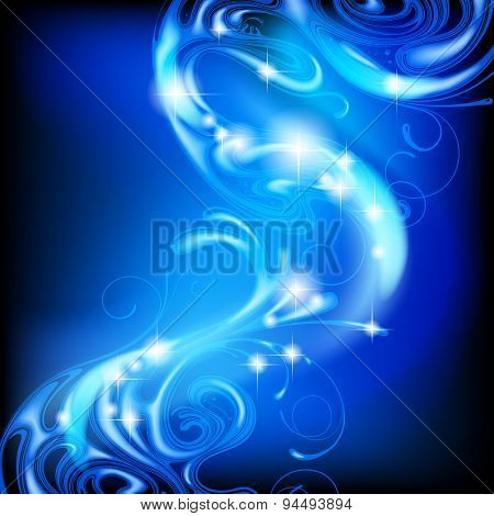 Blue abstract luminous fantasy background.  Vector Illustration
