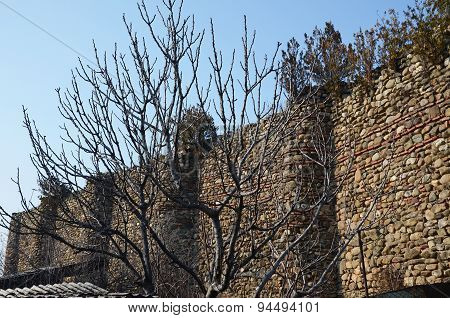 Remains of fortress wall in Old Town of Telavi. Kakheti, Georgia