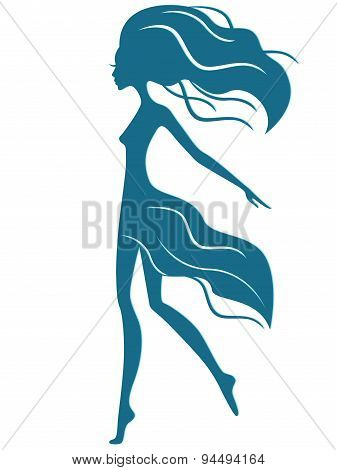 Graceful Girl With Waving Hair In Motion