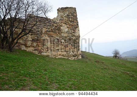 Remains of tower near temple Jvari. Mtskheta, Georgia