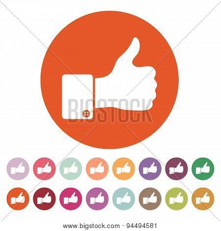 The Thumb Up Icon. Like Symbol. Flat