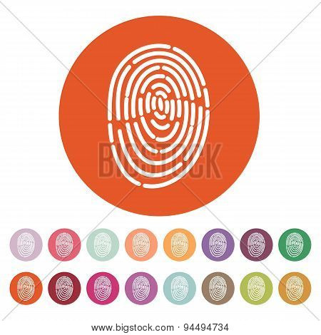 The Fingerprint Icon. Id Symbol. Flat