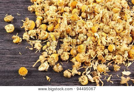 Dried Chamomile On Wooden Table, Alternative Medicine
