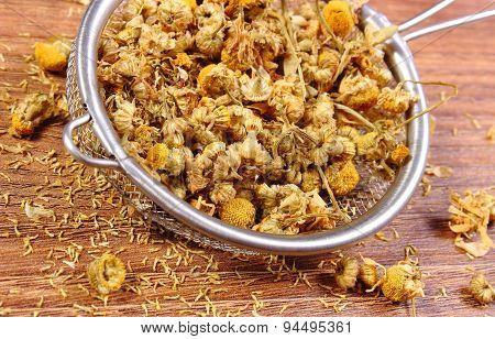 Dried Chamomile On Metal Sieve, Alternative Medicine