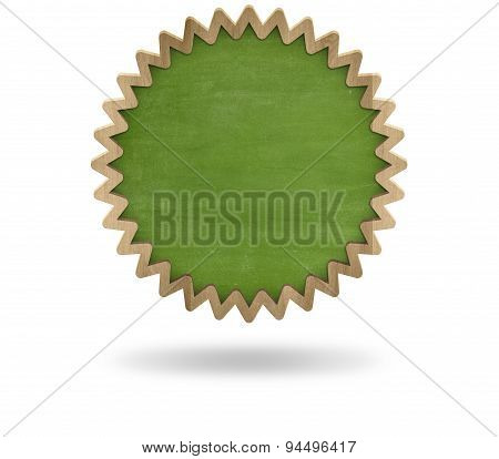 Green blank cogwheel shape blackboard with wooden frame