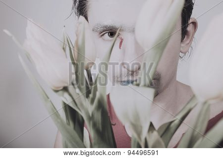 Face Of Young Man With Flower