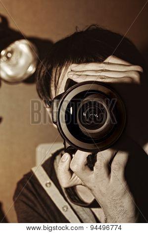 Men's Hands Held Camera