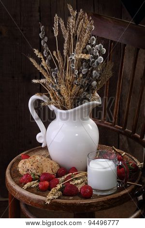 Light Morning Meal With Milk, Fresh Bread And A Strawberry