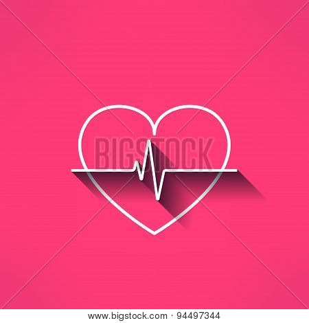 Vector heartbeat medical sign made in modern flat design. Cardilology design element with long shado