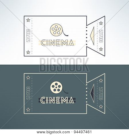 Vector entry cinema ticket in modern flat design with film. Admit one event pass for online tickets